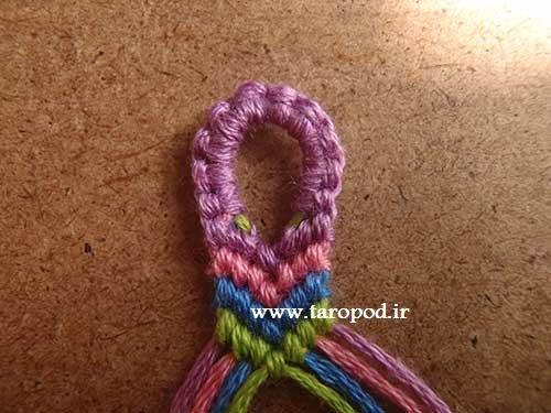 آموزش بافت حلقه ابتدای دستبند نخی (سری اول)