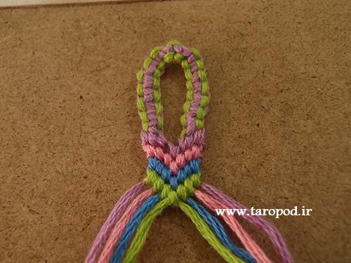 آموزش بافت حلقه ابتدای دستبند نخی (سری دوم)