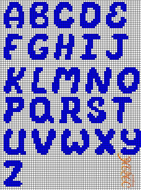 نقشه بافت دستبند دوستی حروف لاتین به روش آلفابافی(سری دوازدهم)