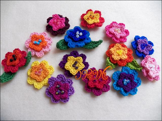 ساخت گل های زیبا و رنگارنگ سه بعدی با قلاب بافی