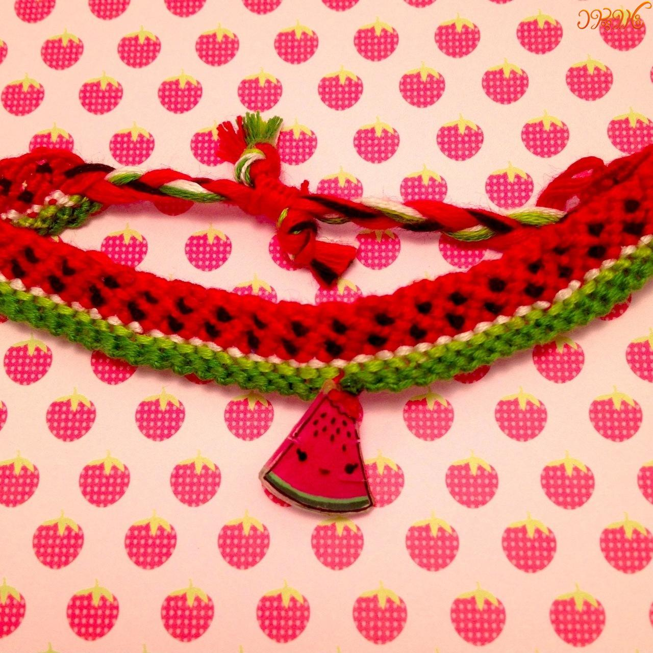 آموزش بافت دستبند دوستی طرح زیبای هندوانه