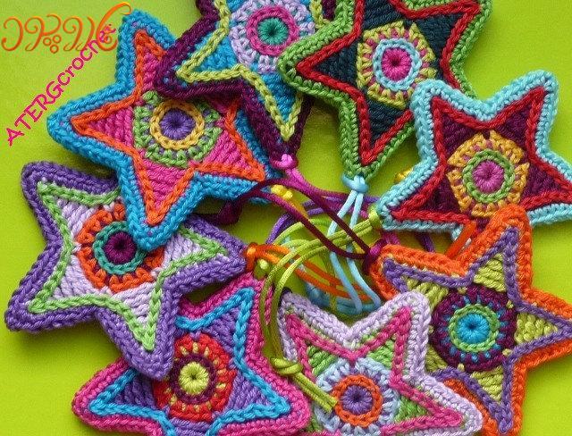 آموزش بافتنی  ستاره های خوشگل رنگی