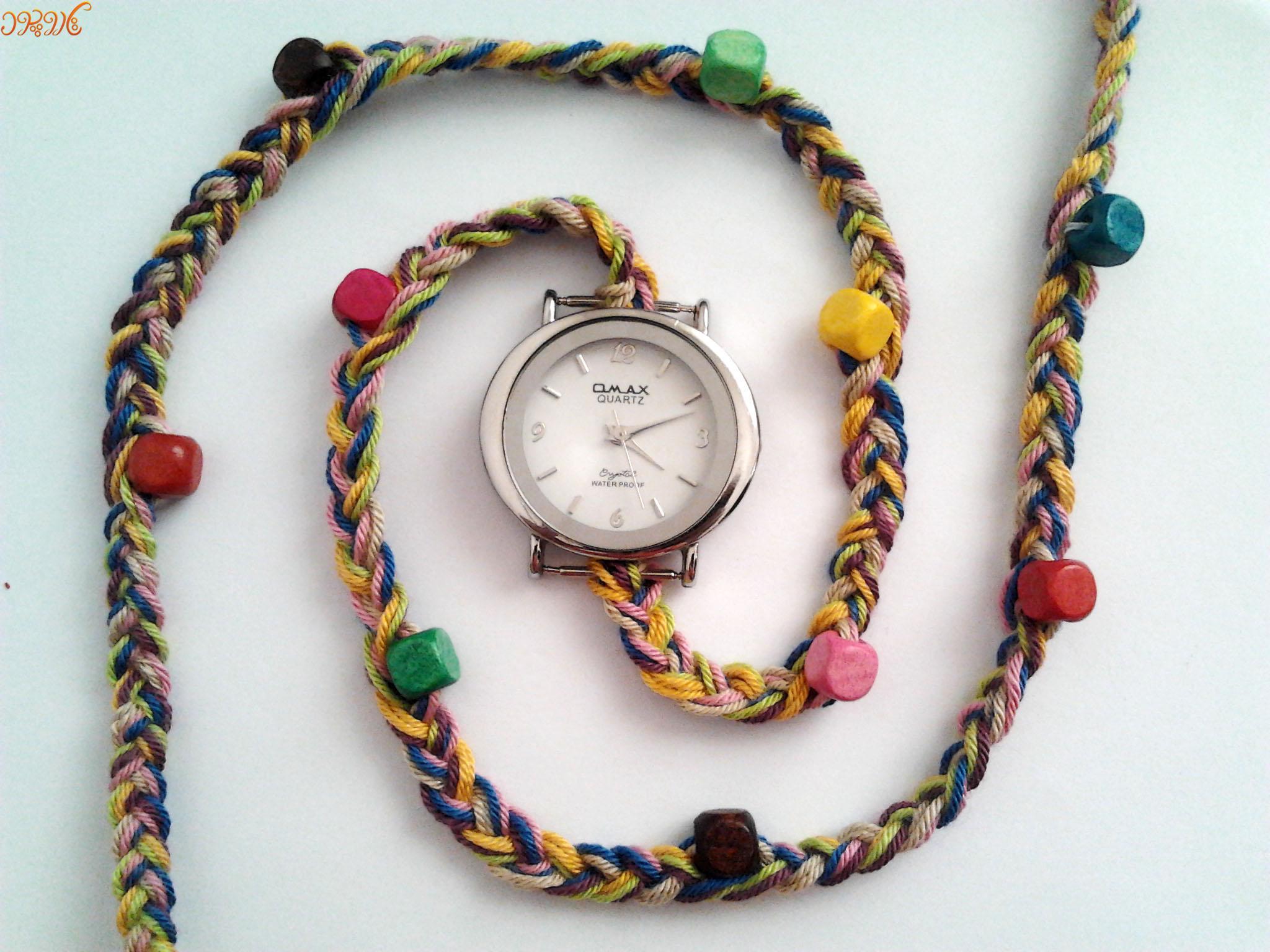 آموزش بافت بند ساعت با مهره های رنگی