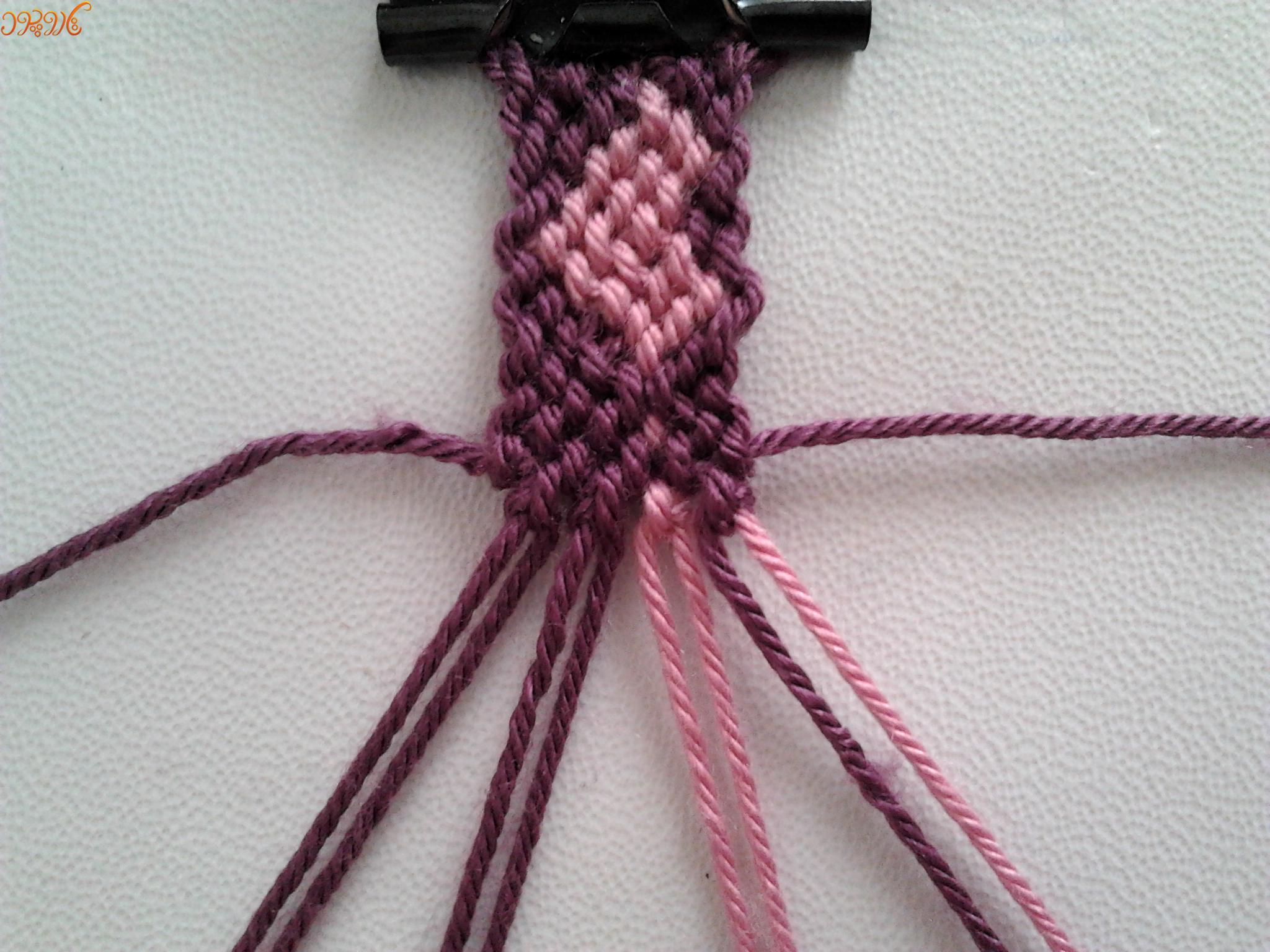 """آموزش بافت دستبند دوستی زیبا """"زنجیره قلب""""۲"""