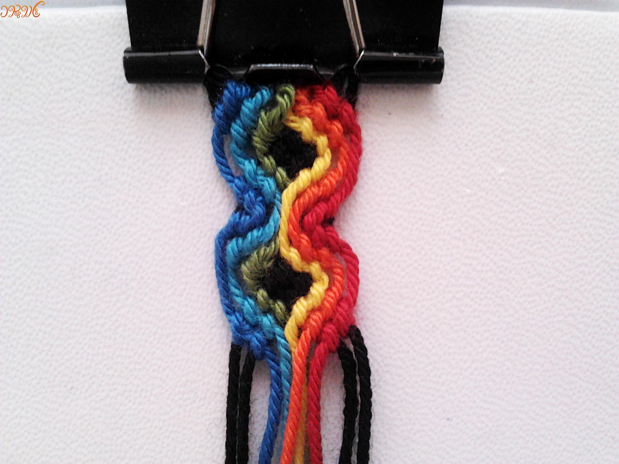 آموزش بافت دستبند دوستی جدید طرح رنگین کمان موجی