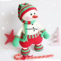 آموزش بافت عروسک آدم برفی بامزه با قلاب